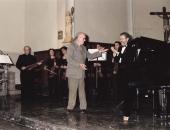 El compositor Xavier Montsalvatge en Vila-seca en 1998.  En el fondo Evelio Tieles.