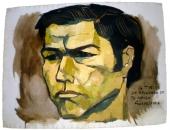 Retrato de Cecilio Tieles realizado por Oswaldo Guayasamín. 1985